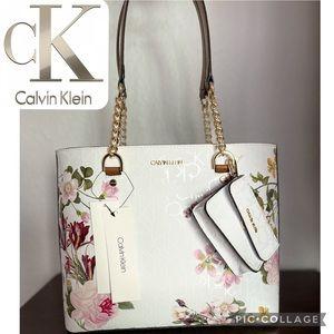 CALVIN KLEIN Leather Floral Print Bag White /Pouch